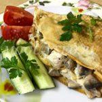 блинчики с курицей и грибами в соусе бешамель рецепт фото