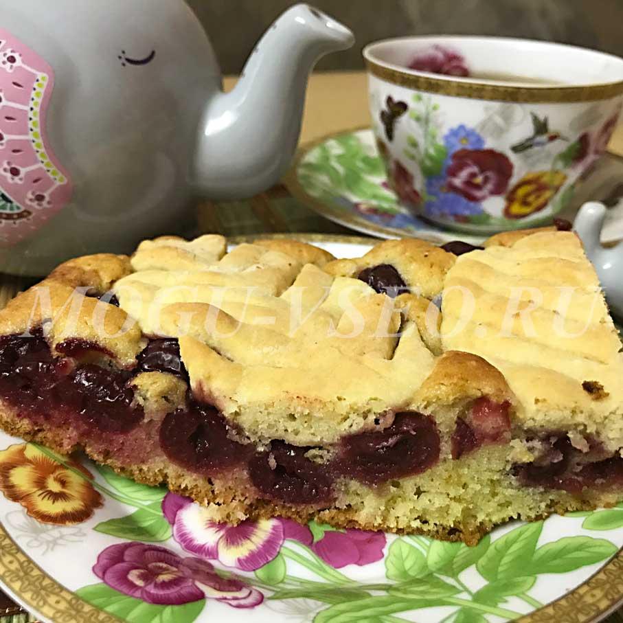 Как испечь вишневый пирог к чаю фото