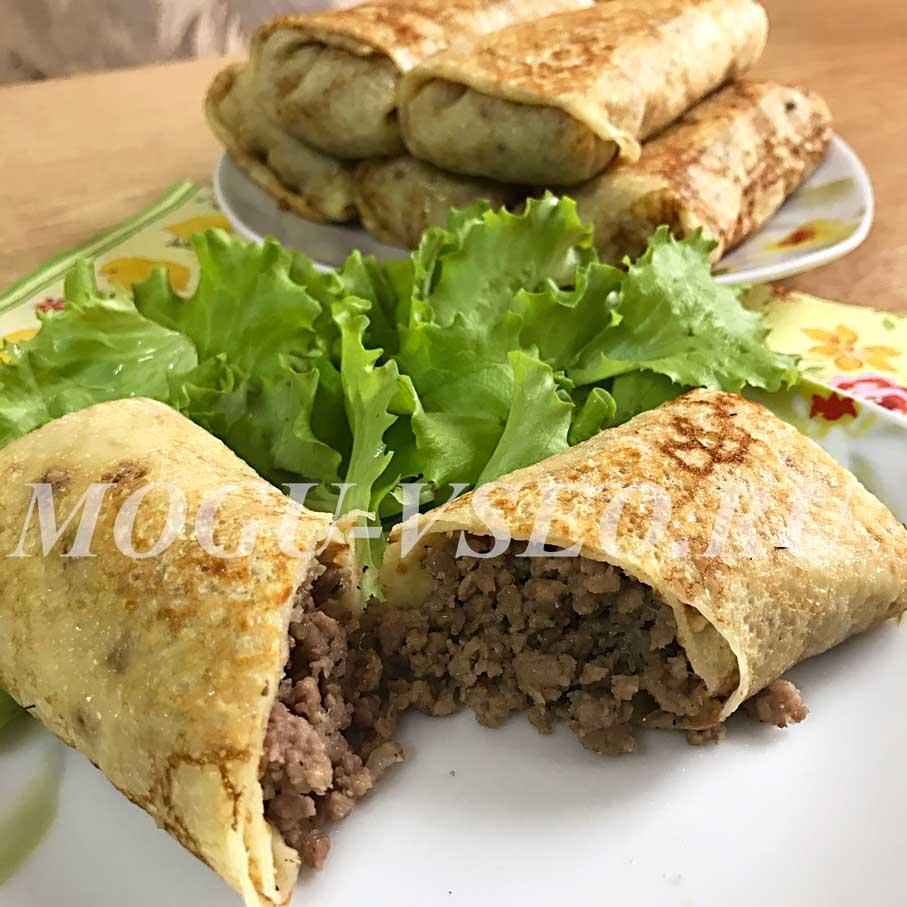 блинчики с мясом рецепт фото