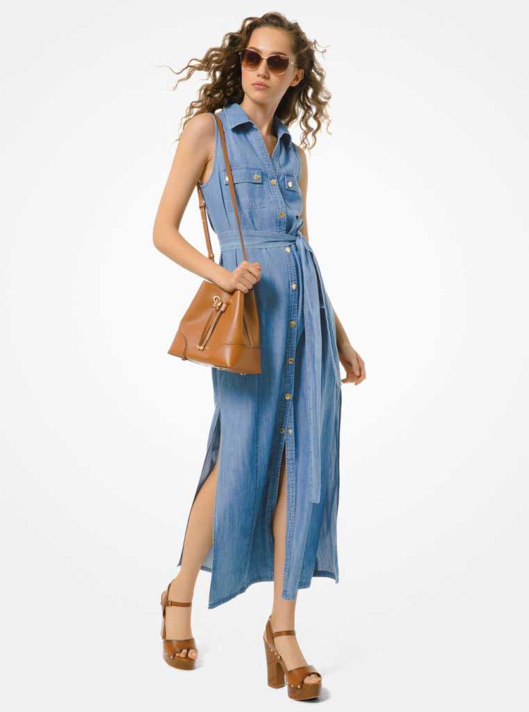 тренды сезона весна-лето 2020 джинсовое платье рубашка