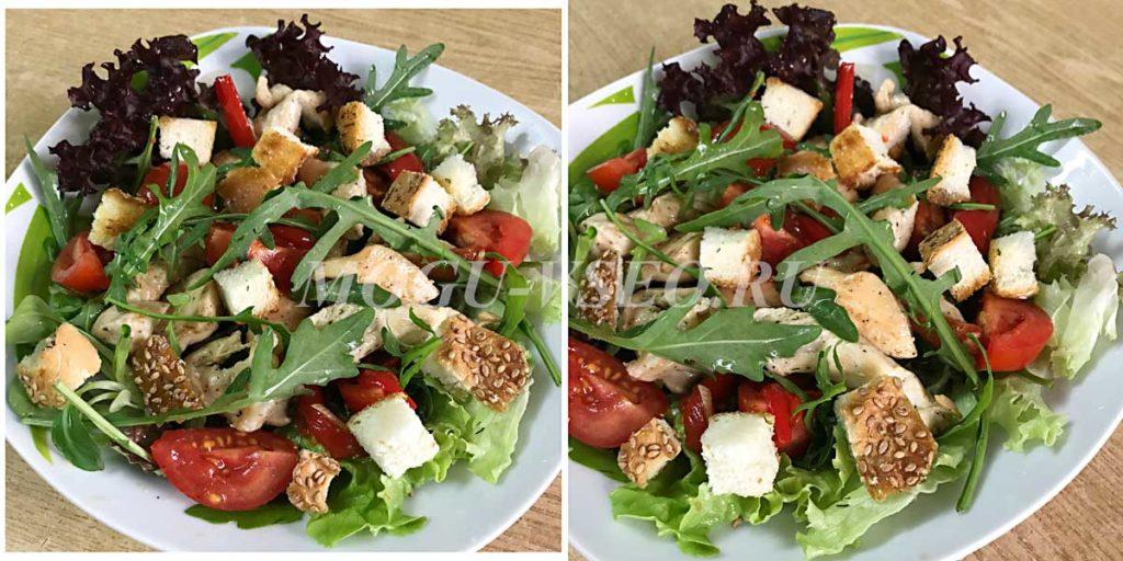 как приготовить теплый салат с курицей и овощами фото