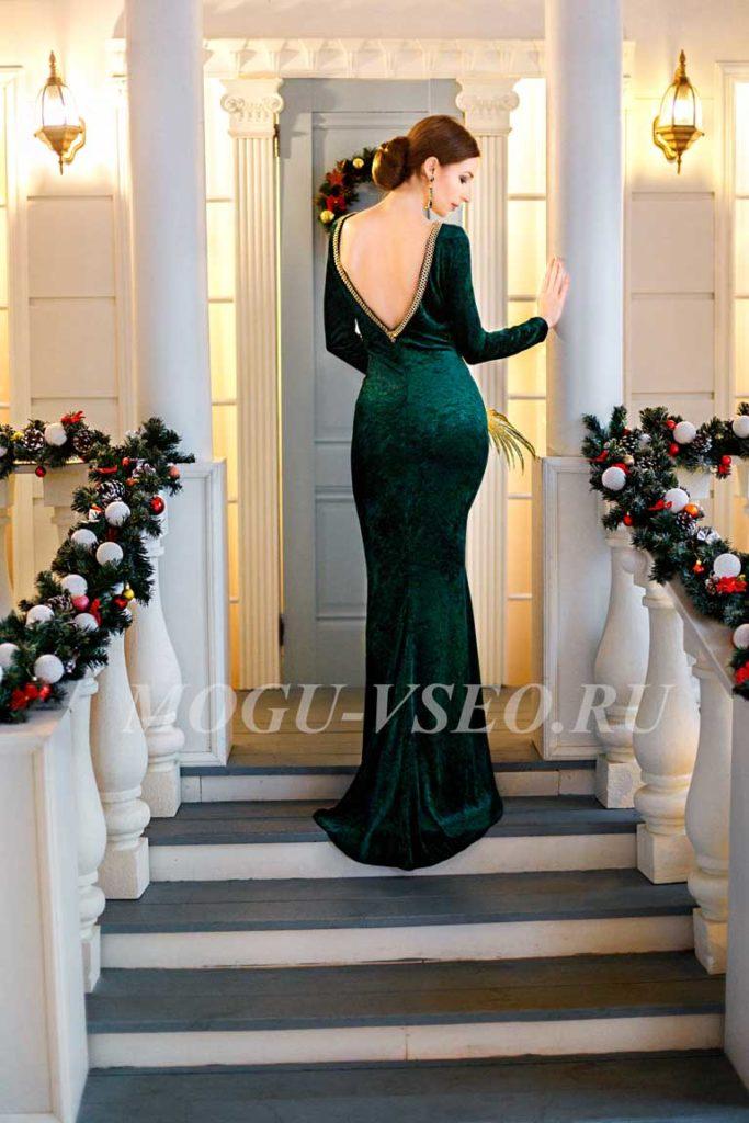 зеленое бархатное платье фото